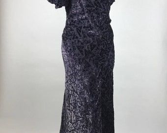 1930s Burn Out Velvet Purple Long Gown Dress AS IS Condition Costume Small