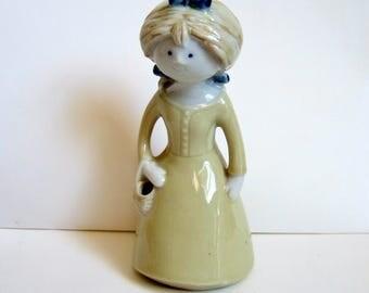 1970s Ceramic Girl - Vintage Scandinavian or Trumptonesque Ceramic Lady Figurine with Long Dress and Basket