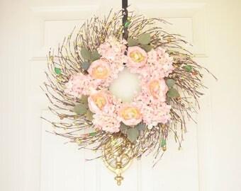 Pink Wreath Silk ranunculus flowers Baby Girl nursery Housewarming gift Wedding decor Silk flowers Spring Summer year round grapevine wreath