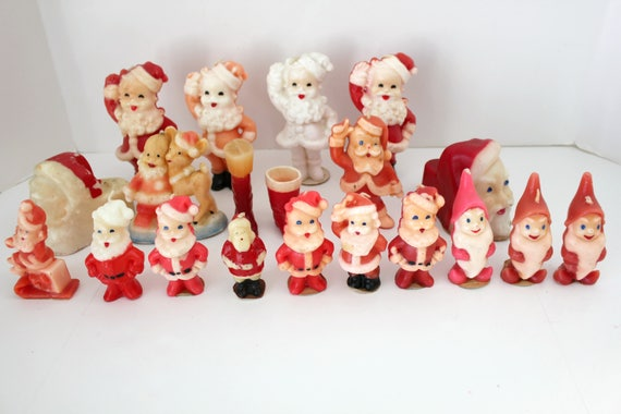 20 Vintage Gurley Norcross Tavern Candles, Christmas Santas, Boots. Elves, Elf