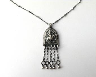 sterling silver tribal pendant, tribal jewelry, yoga jewelry, feminine necklace, yoga gift pendant, spiritual jewelry, delicate pendant