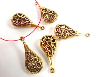 30mm Antique Gold Pewter Pipa Teardrop Filigree Charm Pendant (8)  (p286)
