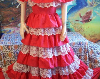 Red Gown, Designer, Vintage, Lorrie Deb, Tiered, Full length, Fiesta, size S