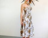 Hawaiian Dress, 80s Dress, Tiki theme Dress, Strapless Dress, Summer Dress, Vintage Dress, Leopard Print dress, Tiger Print dress, Tropical