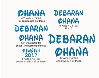 Reserved - 33 Custom AQUA Debaran Ohana iron on glitter vinyl transfers