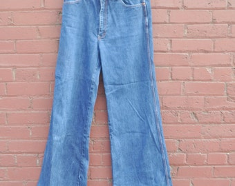 Vintage 70s Seattle Blues Bell Bottoms Mens Jeans Super long