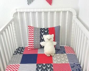 Bunting Banner Flags,Nursery Decor,Aztec Nursery,Tribal Nursery,Home Decor,Navy Blue,Gray,Red,Grey,Stag,Boho,Bucks,Buck Head,Deer,Arrows