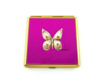 Art Nouveau Butterfly Compact Mirror Inlaid in Hand Painted Enamel FuchsiaOpaque with Color and Personalized Options Available