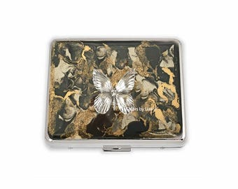 Butterfly Weekly Pill Box inlaid in Hand Painted Black and Gold Enamel Quartz Inspired Design with Personalized and Color Options Available