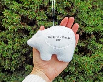 Personalized Christmas Polar Bear Ornament, Family Personalized Christmas Ornament, Couple Custom Bear Ornament