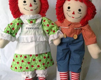 """25"""" Raggedy Ann Doll OR Raggedy Andy Doll - Handmade, Made to Order, Free Personalization, 120+ outfit fabrics to choose from!"""