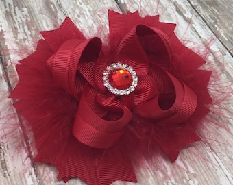 Solid Red Bow, Fluffy Stacked Boutique Bow with Rhinestone Center, Marabou Bow, Stacked Boutique Bow, Red Bow, Christmas Bow