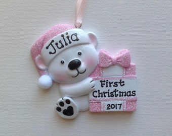 Pink Baby Bear Personalized  Baby's First Christmas Ornament  Baby Girl's First Christmas  - Newborn, Baby Shower, Granddaughter, Gift