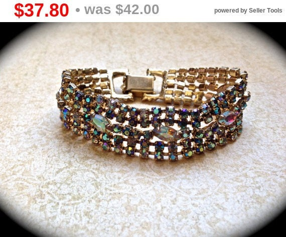 Summer Sale Rhinestone Bracelet-AB Rhinestone Wedding Bracelet Rhinestone Crystal Jewelry- Bride Wedding Statement Bracelet-AB Goldtone B...