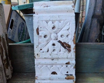 Antique Wood corbel Architectural salvage Rosette Leaf design Boards Plinth Supplies French Country Repurpose Restoration SalvageRelics
