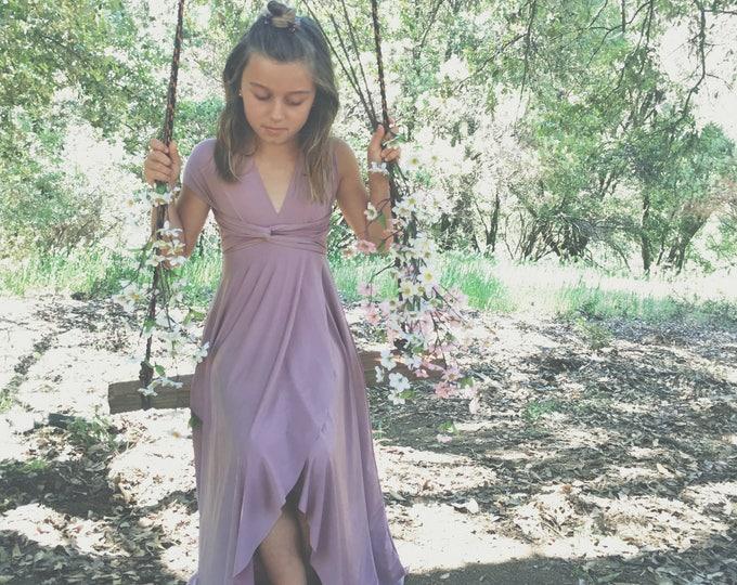 "Ready Made- 36"" L Girls Long Tulip Cut Infinity Twirl Dress~  Custom Choose Color- Shown in Swan Lake Heather~ Child's Flower girl dress"