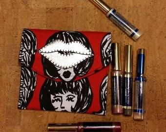 LipSence, Lipstick, lip gloss pouch, holder, custom made, black, cartoon face, holds 6-7 lipsticks, Silver lips , great down line gift
