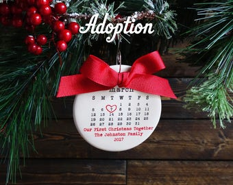 ADOPTION ornament, first christmas ornament, personalized christmas ornament, adoption date, typewriter, adoption gift, family
