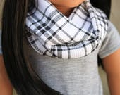Doll Infinity Scarf Black and White Plaid, 18 Inch Doll, Doll Back To School Clothes, Doll Plaid Scarf, Doll Fall Scarf