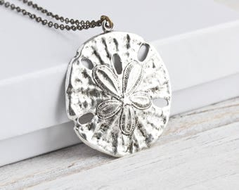 Antiqued Silver Plated Large Sand Dollar Pendant Necklace on Antiqued Brass Chain