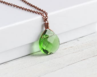 Green Faceted Glass Teardrop Necklace on Antiqued Copper Plated Chain