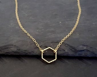 Gold Pendant Necklace, Gold Minimalist, Gold Hexagon, Geometric, Simple, Dainty Gold, Delicate Gold, Gold Filled, Layering, Layer Gold