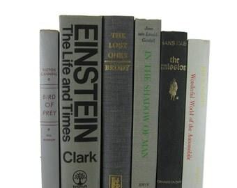 Gray Farmhouse Decor, Vintage Books, Decorative Books , Gray Book Home Decor ,  Vintage books for Wedding Decor