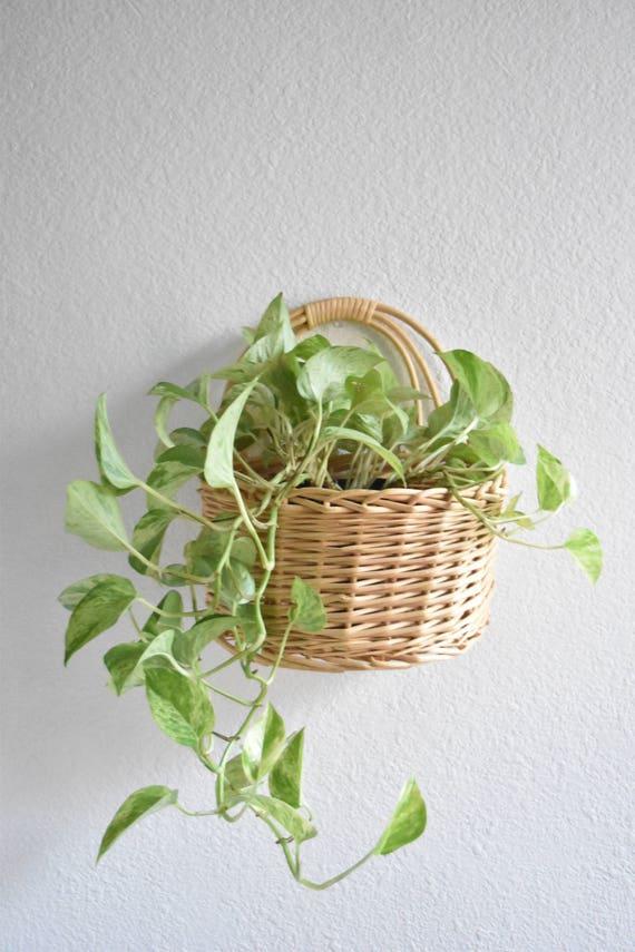 large woven wicker beige hanging wall basket planter
