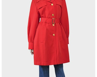 Vintage Jonathan Logan Red Trench Coat Jacket Raincoat 60s Jacket Mod Jacket Pea Coat Trenchcoat Rain Coat Belted Jacket Red Jacket