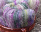 Hand Carded Batts, 120g total, spinning wool, merino, bluefaced leicester, mulberry silk, anemones, purple, pink, yellow, green