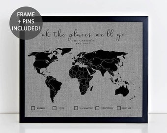 Framed map  Etsy