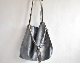 Metallic Blue Silver Grey Tote with Woven Strap and Tassel Finish.  One of a kind and Ready to Ship