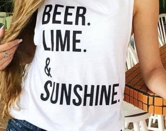 Beer Lime and Sunshine - summer tank - workout tank - lake - muscle tank