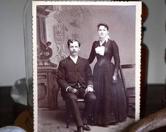 Raleigh & Edith Jones ~ Antique photograph, Portrait, Victorian, Farmhouse, Banker, School Teacher