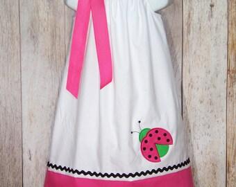 Ladybug Pillowcase Dress / Pink & White / Girly / Birthday / Newborn / Infant / Baby / Girl / Toddler / Handmade / Custom Boutique Clothing