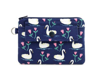 Swan Coin Purse - Zipper Pouch - Keychain Wallet - Snap Wallet - Gift for her - Gift idea - Padded Pouch - Dark Blue Change Purse