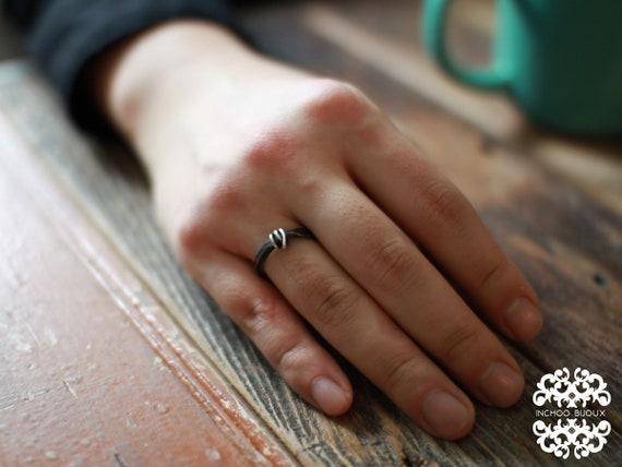 Thin Rough Silver Mens Wedding Band Ring, Solid Silver Ring, Promise Ring, Unique Mens Ring, Unique Rocker Ring, Black and Silver Ring