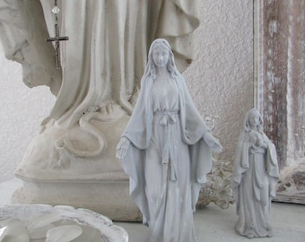 MADONNA STATUE Our Lady Of Grace Seawashed Jeanne D Arc Living French Nordic Shabby Chic Quiet Living
