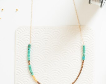 Woods -- turquoise, bronze, and gold beaded necklace, boho, bohemian, turq, layering, lightweight, everyday, for her