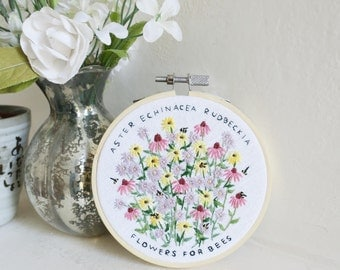 Flowers for Bees - Embroidery Hoop Art - 4 inches wide