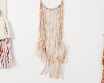 Dreamcatcher / Dusty Pink Dreamcatcher / Hand-made Wall Hanging