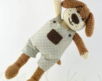 Basile,  crochet dog, crochet toy, Ready to ship