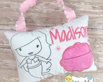 COLOR ME Girls Tooth Fairy Pillow, Tooth Fairy Pillow, Mermaid Tooth Fairy Pillow, Tooth Pillow Girl, Birthday Gift, Personalized Pillow,