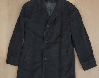 Vtg 40s 50s Union USA Penney's Town-Clad Fine Wool Long Coat Overcoat Dark Gray Size SMALL JCPenneys