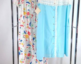 60s/70s Housecoats - Lot of 2 - Floral - Eyelet - Blue - Med/Lg