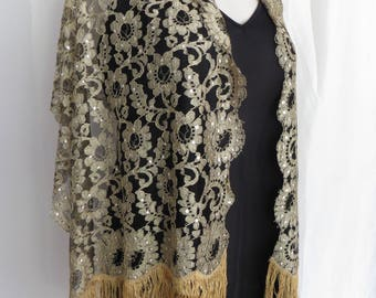 Vintage 60s black lace gold fringe shawl, wrap, cape, scarf, table runner