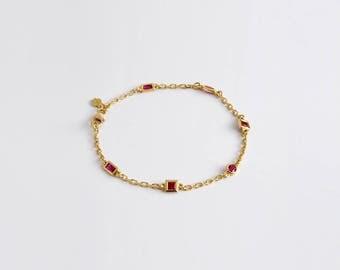 Ruby Set Link Bracelets, Bracelet Ruby Charm Bracelet, Geometric Chain Bracelet, Charm Bracelet, 18k Gold Bracelet Chain Link