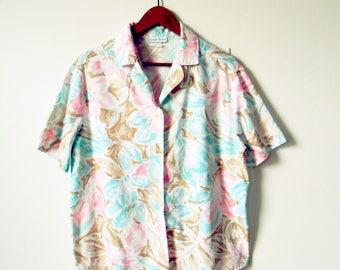 Vintage Pastel Tropical Island Blouse / Rad 80s Floral Pastel Button Down / Pastel Hawaiian Shirt