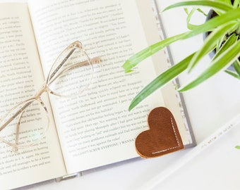 Brown Leather Bookmark Heart Shaped Bookmark
