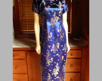 Vintage 80s Mei Gui Blue Silk Dragon Cheongsam Asian Mandarin Dress S tagged L